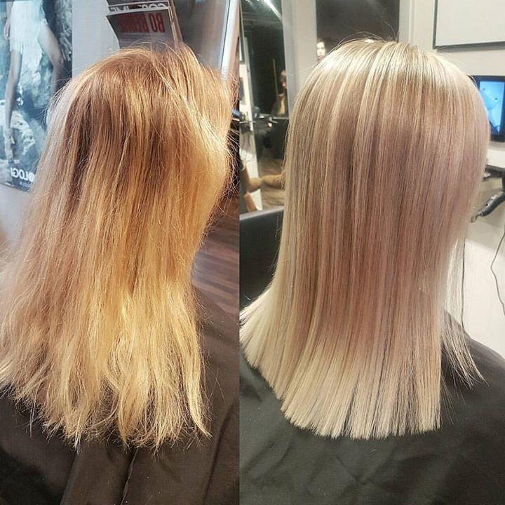 Mange foliestriper etterpå og vips så ble denne kunden helt smashing på håret! Frisør:…