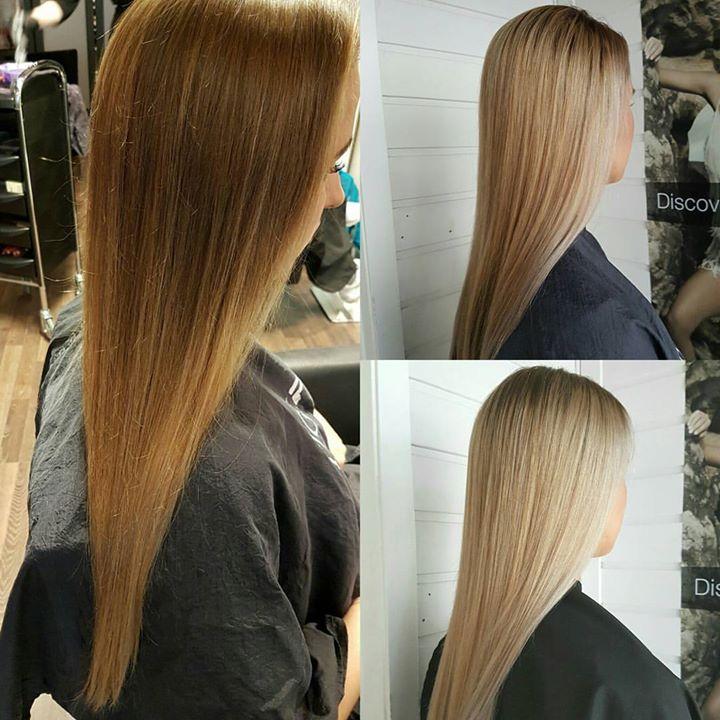 Resultat etter to runder med frihåndsstriper (balayage). Fra varm brun tone til kald blonde.…