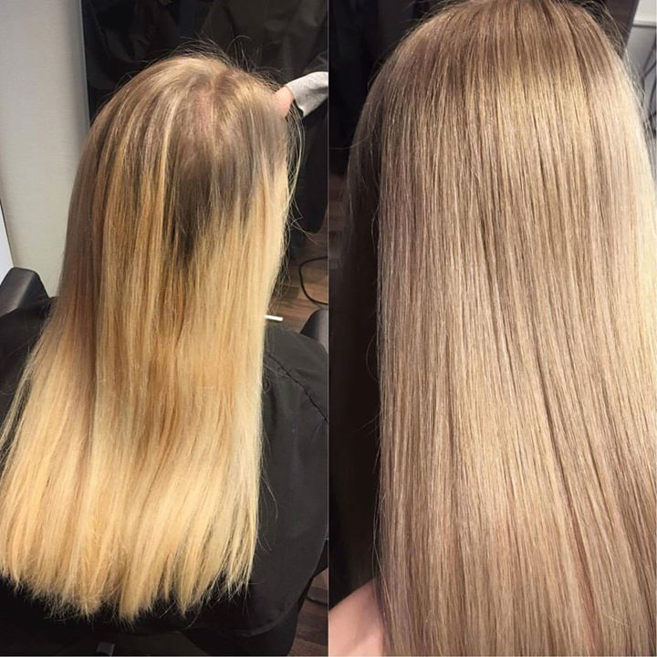 Striper med lysfarge Juniorfrisør: Tina #highlites #blondhairs #foils #specialblonde #glam_as #hairinspiration #juniorhairstylist #wellahair #new…